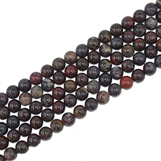 12mm Natural Round Bloodstone Beads Semi Precious Loose Gemstone Beads for Jewelry Making Strand 15 Inch (31-33pcs)