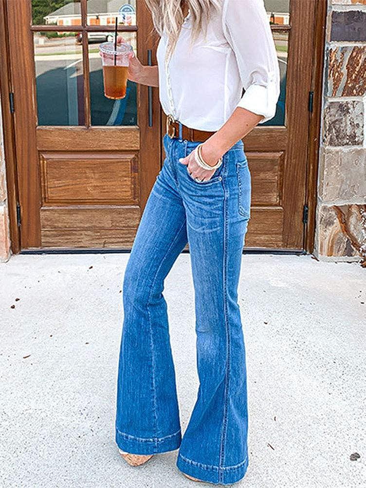 ORANDESIGNE Mujer Evas/é Vaqueros Acampanados Pantalones Largos El/ástico Cintura Alta Retro Flared Jeans