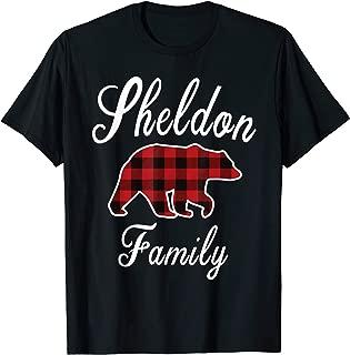 SHELDON Family Bear Red Plaid Christmas Pajama Gift T-Shirt