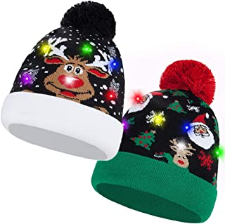 LED Beanie Knit Christmas Hat Ugly Novelty Knitted Xmas Party Beanie Skull Cap