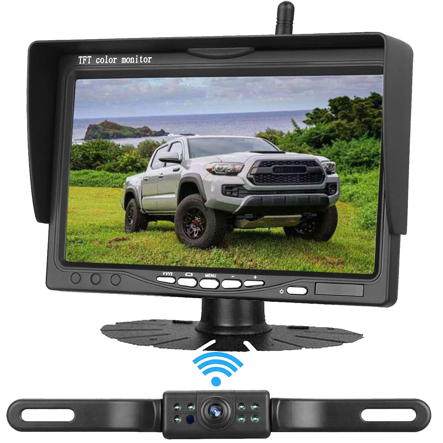 Emmako Backup Camera and 4.3 Mirror Monitor Kit For Car//RV//Pickup Truck//Trailer//Van IP68 Waterproof Night Vision Rear View System Optional Reversing//Driving Use With Guide Lines