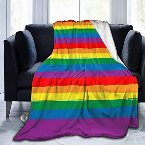 ☀️New 79x96 Luxury MEDIUM Weight Queen Blanket Multi-Colored Pride Flag
