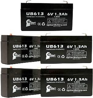 5x Pack - UB613 Universal Sealed Lead Acid Battery Replacement (6V, 1.3Ah, 1300mAh, F1 Terminal, AGM, SLA) - Includes 10 F1 to F2 Terminal Adapters - Compatible with WERKER WKA6-13F, Casil/Chee Yuen Industrial Ca613, Exitronix Ex6v1.2a, Lichpower Djw6-12, Lintronics Lcr6v1.3p, Toyo 3fm1.3, Lichpower Djw6-12, Tempest Tr1.2-6, B & B Battery Bp1.2-6, Werker Wka6-13f, Star Trac 800-3102, Leoch Djw6-1.2, Jasco Rb612