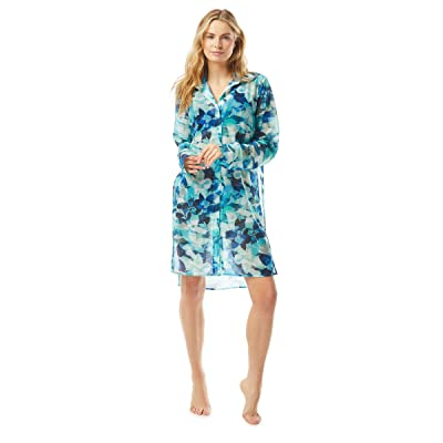 Carmen Marc Valvo Lush Verdure Button Front Shirt Cover-Up with Tie Front in Illusion Mesh (Lagoon) Women