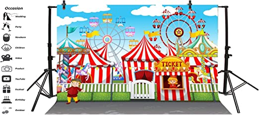 10x10ft Cartoon Amusement Park Backdrop Kids Funfair Sky Wheel Red White Striped Ticket Office Circus Tent Fairground Pleasure Ground Background Baby Girl Boy Birthday Party Decor Vinyl