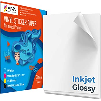"Printable Vinyl Sticker Paper for Inkjet Printer - Glossy White - 15 Self-Adhesive Sheets - Waterproof Decal Paper - Standard Letter Size 8.5""x11"""