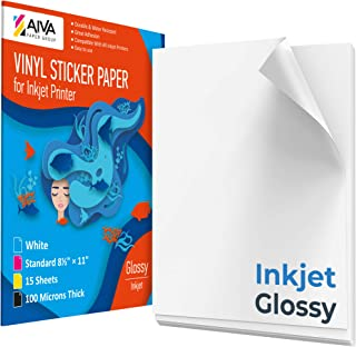 """Printable Vinyl Sticker Paper for Inkjet Printer - Glossy White - 15 Self-Adhesive Sheets - Waterproof Decal Paper - Standard Letter Size 8.5""""x11"""""""