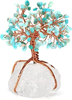 Top Plaza Chakra Healing Crystals Amazonite Stones Copper Tree of Life Wrapped On Natural Clear Quartz Crystal Base Money Tree Feng Shui Luck Figurine Decoration