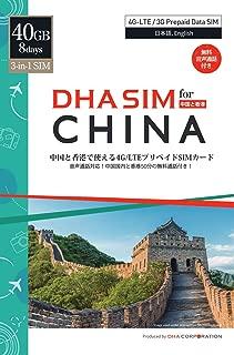 DHA SIM for China 中国と香港8日間40GB 4G/LTEデータ / 最初8GBはデザリング利用可能 / 中国にLINE/FacebookなどSNS利用可能/中国は日本の端末により互換性がある香港China Unicom、香港は3HKのネットワークを利用しています。/ 中国・香港で使える50分間の無料通話付き