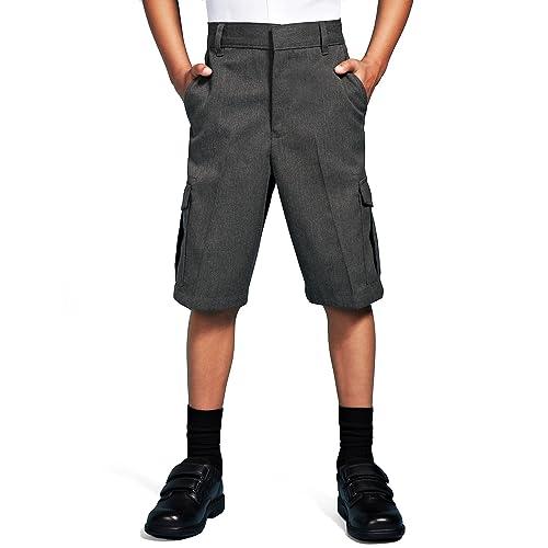 1c29f3d6bd Integriti Schoolwear Boys School Cargo Shorts Smart Uniform Age 2-13 Years  Black Grey Teflon