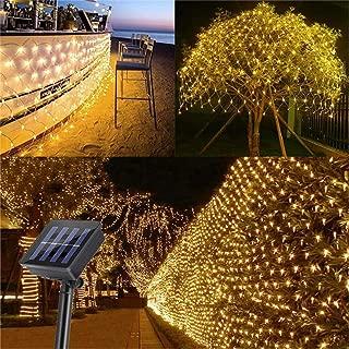 AMARS Garden Solar Net String Lights Outdoor 9.8ftx6.5ft 204leds Decorative Solar Mesh Fairy Light, 8 Modes, Waterproof - Fence, Backyard, Patio, Wall, Window, Yard, Lawn, Tree Decoration (Warm White)