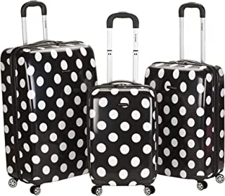 Luggage 3 Piece Laguna Beach Upright Luggage Set, Black Dot, Medium