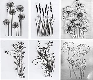 6pcs/Lot Dandelion Lavender Poppies Daisy Flowers Leaves Stamp Rubber Clear Stamp/Seal Scrapbook/Photo Album Decorative Ca...