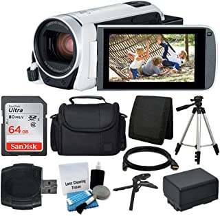 Canon VIXIA HF R800 Camcorder (White) + SanDisk 64GB Memory Card + Digital Camera/Video Case + Extra Battery BP-727 + Quality Tripod + Card Reader + Tabletop Tripod/Handgrip - Deluxe Accessory Bundle