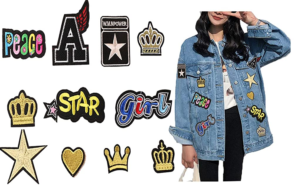 Embroidered Gold Patches Set - Kids Iron On/Sew On Appliques with Letter Heart Star Crown Girls Peaces Patterns Badges Logos for DIY T-Shirt Jackets Clothes Dresses Hats Jeans(11 PCS)