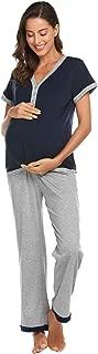 Maternity & Nursing Pajamas Short Sleeve Pj Set for Breastfeeding Raglan Nursing Loungewear for Women S-XXL