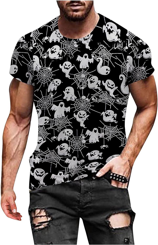 WUAI-Men Casual Summer Short Sleeve Cute Funny Pumpkins Skeleton Printed Comfy Halloween T-Shirts Tops M-3XL
