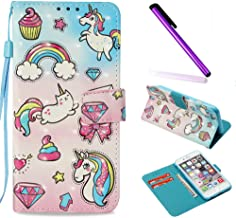 iPhone 6 Case iPhone 6S Case ISADENSER Glitter 3D Fancy Luxury Design Wallet with Card Holder Cash Slots Kickstand Shockproof PU Leather Folio Flip Case Cover for iPhone 6S 6 3D Fantasy Unicorn YB