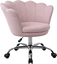 Office Chair Modern Linen Fabric Shell Chair Adjustable Swivel Comfy Upholstered Desk Chair (Pink)