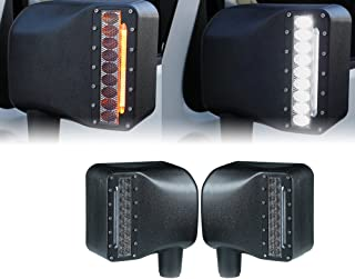 Xprite Smoke Lens LED Side Mirror with White Spot Lights and Amber Turn Signal Lights for 2007-2018 Jeep Wrangler JK JKU