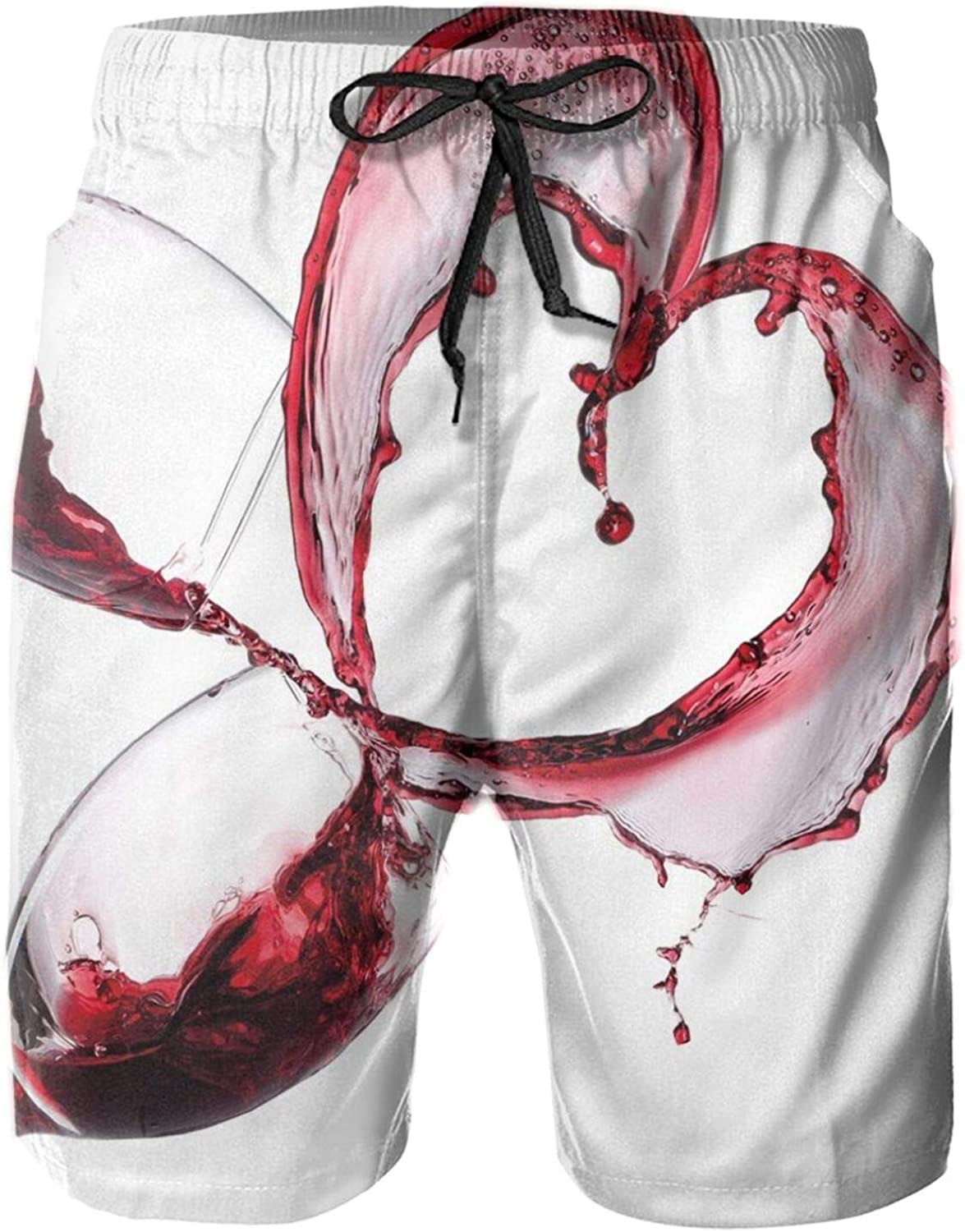 Heart with Spilling Red Wine in Glasses Romantic Love Valentines Day Concept Drawstring Waist Beach Shorts for Men Swim Trucks Board Shorts with Mesh Lining,L