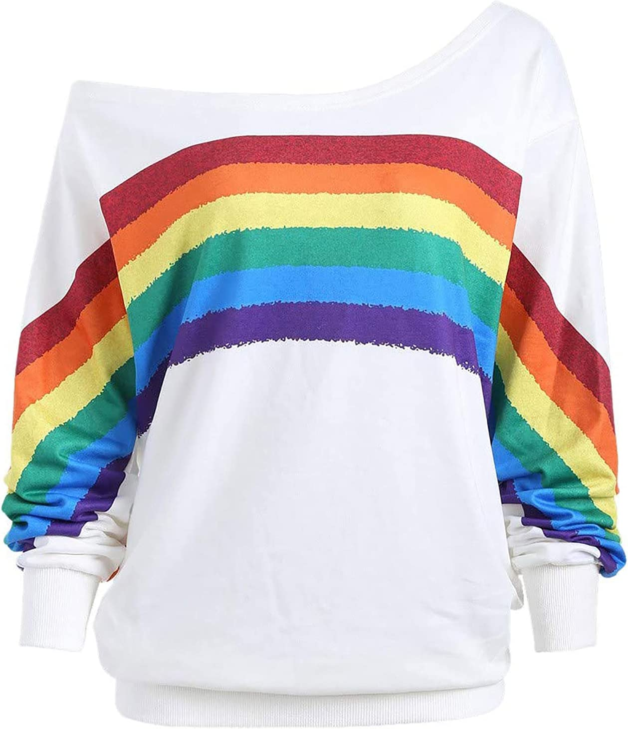 Womens New item Long Sleeve Sweater Tops Rainbow Wo Cheap super special price for Print Sweatshirts