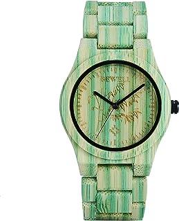 Bewell 105DG Green Bamboo Wristwatch for Men, Lightweight Quartz Analog Casual Wooden Watches