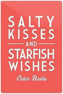 Outer Banks, North Carolina - Salty Kisses and Starfish Wishes - Simply Said Press 85731 (6x9 Aluminum Wall Sign, Wall Decor Ready to Hang)