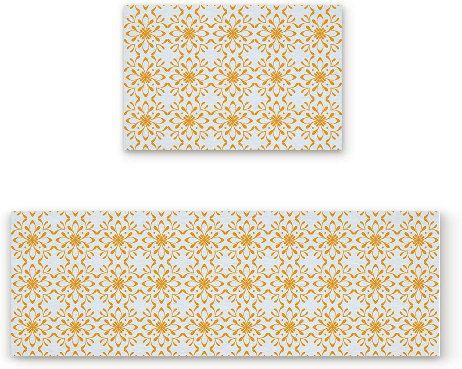 Aomike 2 Piece Non-Slip Kitchen Mat Rubber Backing Doormat Classic Floral Pattern Runner Rug Set Hallway Living Room Balcony Bathroom Carpet Sets (23.6  x 35.4 +23.6  x 70.9 )