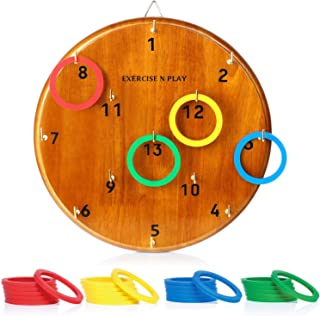 WishaLife Ring Toss Game for Kids and Adults | Indoor - Outdoor Hook Board Ring Toss | Fun Family Backyard Games | 4 Color Ring Set for 4 Player Game(Random Delivery)