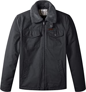 WenVen Men's Warm Quilted Lined Full Zip Jacket with Flannel Collar