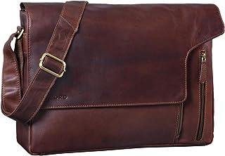 """STILORD Eduard"""" Laptop Messenger Bag Leder Vintage für Herren große Umhängetasche mit 15.6 Zoll Notebook-Fach Aktentasche für Business Uni Büro Echtleder"""