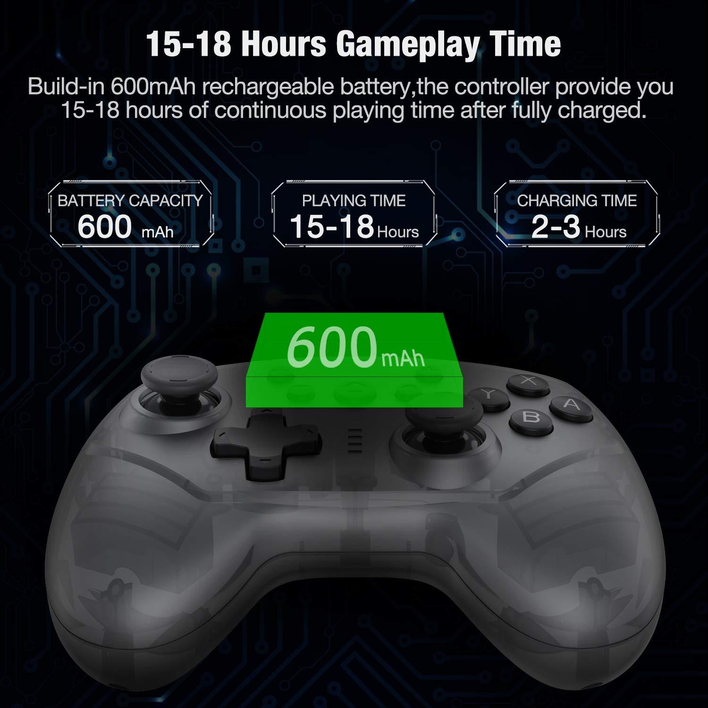 DinoFire - Mando inalámbrico para Nintendo Switch/Lite, mando a distancia con control de movimiento turbo y vibración, Switch Pro para consola Nintendo Switch, color negro: Amazon.es: Electrónica