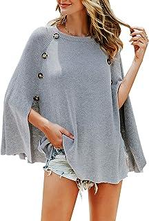 Zandiceno Women's Oversized Buttons Knit Flowy Cloak Sweater Ladies Elegant Streetwear