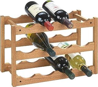WENKO Etagère à vin Norway - pour 12 bouteilles, Bois de noyer, 42 x 28 x 21 cm, Marron