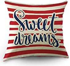 Moslion Striped Throw Pillow Cover Vintage Quote Sweet Dreams Cotton Linen Decorative Pillow Case 18 x 18 Inch Standard Square Cushion Cover for Sofa Men Women Red Navy Blue and White