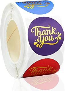 """Thank You Stickers, 1.5"""" Round Thank You Stickers Small Business, Multiple Color Golden Font Design,Perfect for Business,W..."""
