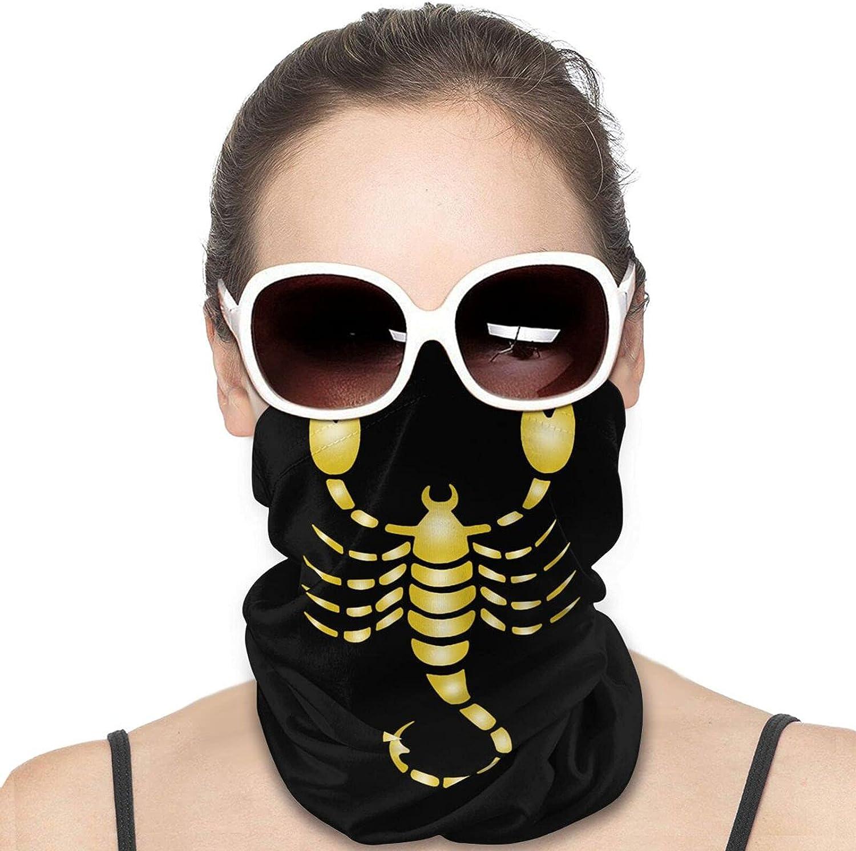 Gold Zodiac Scorpio Neck Gaiter Windproof Face Cover Balaclava Outdoors Magic Scarf Headband for Men Women Motorcycling Fishing Running Climbing