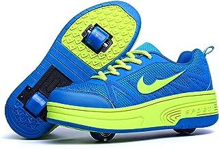 Wasnton Garçons Filles Chaussures à roulettes 1Roue/2 Roues Respirant Patins à roulettes pour Unisexe Enfants Retractable ...
