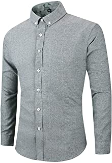 NIUQI Men's Long Sleeve Button Turndown Collar Solid Color Casual Top Blouse Shirts