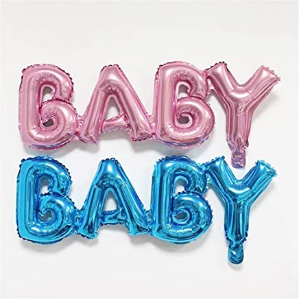 WENDYWU 33 Inch Jumbo Blue and Pink Balloons Helium Foil Letter Baby Balloon with Pump for Child's Party