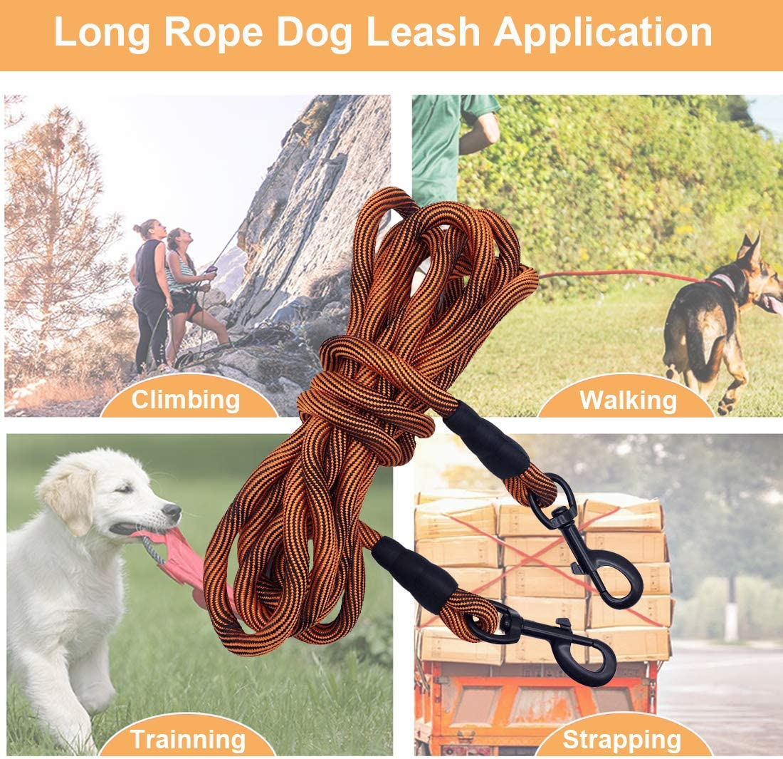 Camping Playing 8ft 12ft 20ft 30ft 50ft Recall Training Lead Leash- Great for Large Medium Small Dogs Training BTINESFUL Tie-Out Check Cord Long Rope Dog Leash or Backyard