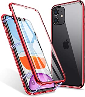 iPhone 11 Case, ZHIKE Magnetic Adsorption Case Front and Back Tempered Glass Full Screen Coverage One-Piece Design Flip Cover [Support Wireless Charging] (Clear Red)