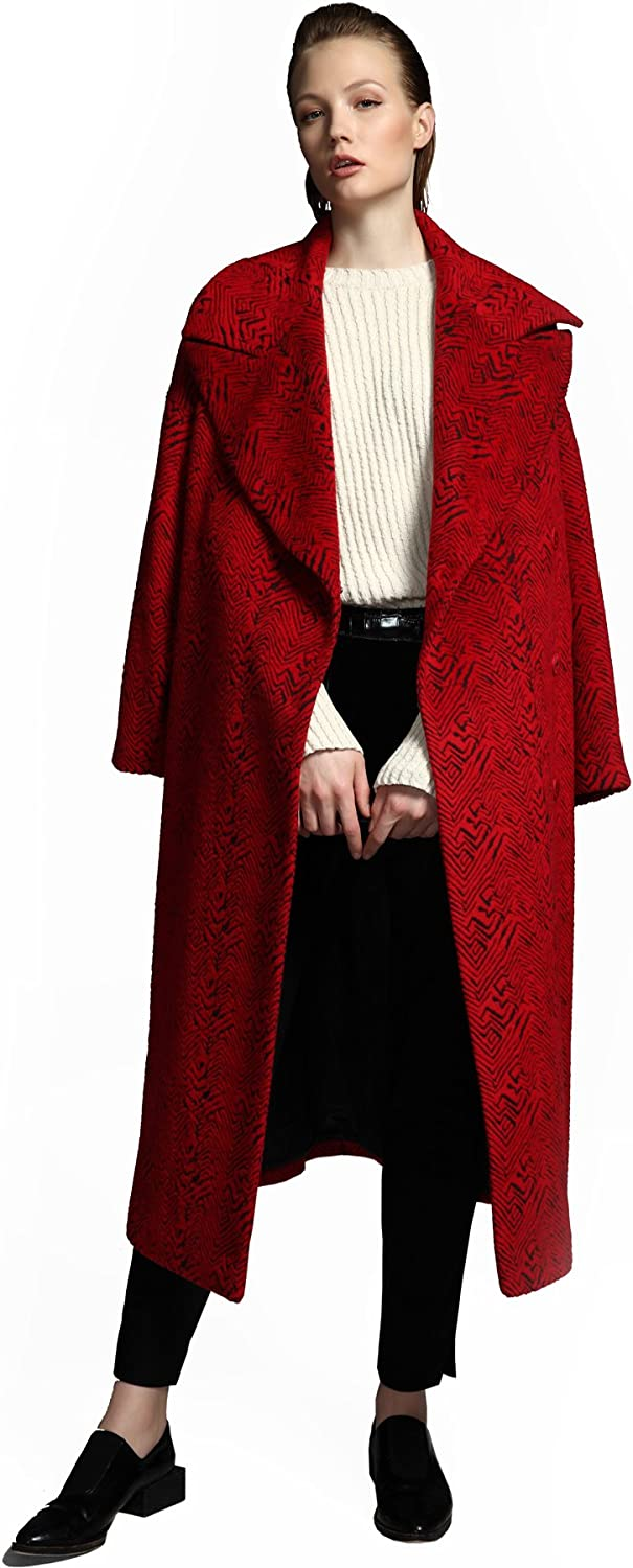 YueSpace Women's Lapel Casual Jacquard Long Sleeve Wool Coat with Pockets