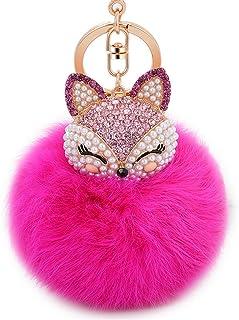 Anple Real Rabbit Fur Ball with Artificial Fox Head Inlay Pearl Rhinestone Key  Chain for Womens 026a766977