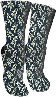 靴下 抗菌防臭 ソックス 葉シフォンパターンアスレチックスポーツソックス、旅行&フライトソックス、塗装アートファニーソックス30 cmロング靴下