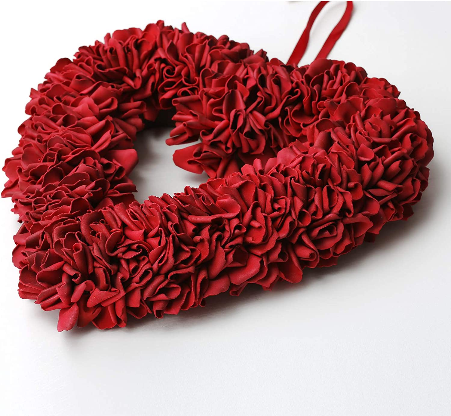 Wedding Party Orrhyunii 13 Wreath Floral Rose Wall Wreaths Heart Shaped Artificial Simulation Decorative Valentines Day Front Door Decorations Flowers for Home Staircase
