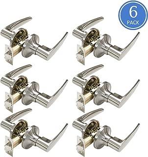 6 Pack Satin Nickel Unlocking Passage Door Levers Universal Handleset Keyless Door Handles for Hallway/Closet