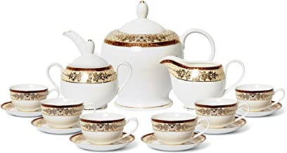 Euro Porcelain 17-pc. Vintage 'Golden Leaves' Tea Cup Coffee Set with 24K Gold-Plated Ornament, Premium Bone China Service for 6