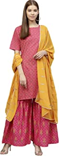 AHALYAA Women's Cotton Straight Kurta Sets (Pink)